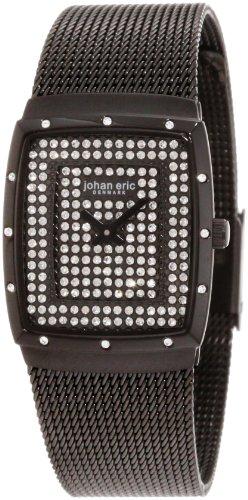 Johan Eric JE1006-13-007.16 - Reloj analógico de cuarzo para mujer con correa de acero inoxidable, color negro