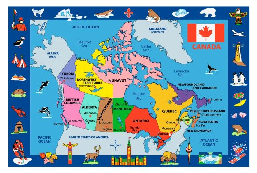 Roule Fun Time Collection Map Of Canada 8X11 Ft Kids Area Rugs