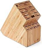 Culina Bamboo Countertop Knife Block - 19 Inserts