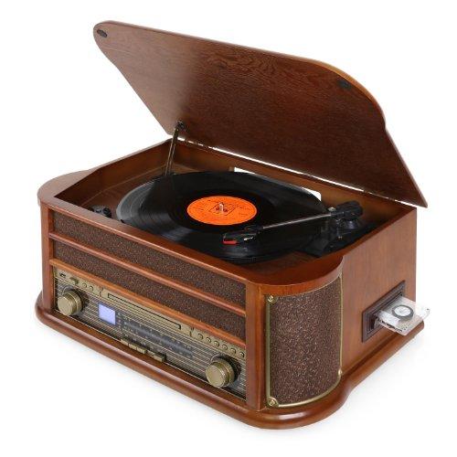 Auna Belle Epoque 1908 Retro-Stereoanlage Musiktruhe Musikanlage mit Plattenspieler (MP3-fähiger USB-Slot, CD-Spieler, Kassettendeck & Radio) braun