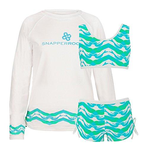 Snapper Rock Mädchen UPF 50+ Sonnenschutz zweiteiliges Set aus UV Shirt langer Arm & Bikini für Kinder, Grün Mermaid Print, 1-2 jahre, 86-92cm