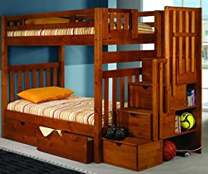 Bunk Bed Twin over Twin Mission Style in Honey with Stairway and Drawers from DONCO