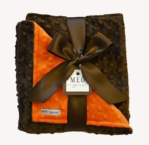 MEG Original Orange & Brown Minky Dot Baby Blanket