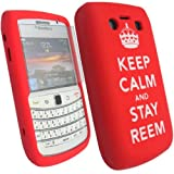 Keep Calm And Stay Reem Lasered - Silicone Gel Mobile Phone Case Cover For BlackBerry Bold 9700 + Clear Screen Film Protector Proctector / Red
