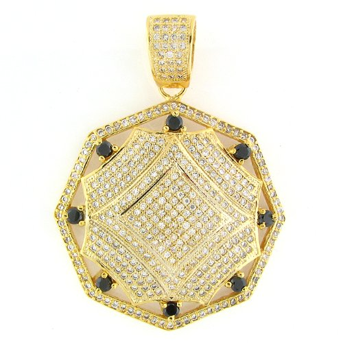 Men'S & Women'S Iced Out Hip Hop 14K Gold Plated Crystal Micro Pave Premium Diamond Charm Pendant