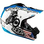 Troy Lee Designs McQueen SE 3 MotoX/Off-Road/Dirt Bike Motorcycle Helmet w/ Free B&F Heart Sticker Bundle - White / Small