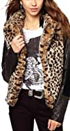 Fengbay Womens Leopard Velvet PU Leather Sleeve Stitching Coat