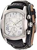 Invicta 11324 Men's Lupah Chronograph Silver Tone Dial Black Leather Strap Stainless Steel Watch