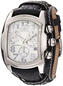 Invicta Men's 11324 Lupah Chronograph Silver Tone Dial Black Leather Watch