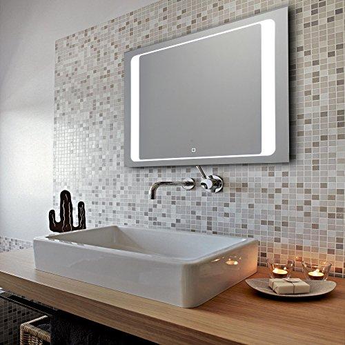 krollmann badspiegel mit led beleuchtung touch sensor satinierte lichtfl chen 80 x 60 cm. Black Bedroom Furniture Sets. Home Design Ideas