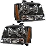 2007-2013 Chevy/Chevrolet Suburban 1500 2500 Tahoe & Avalanche Pickup Truck Headlight Headlamp Composite Halogen Front Head Light Lamp Set Pair Right Passenger AND Left Driver Side (07 2007 08 2008 09 2009 10 2010 11 2011 12 2012 13 2013)