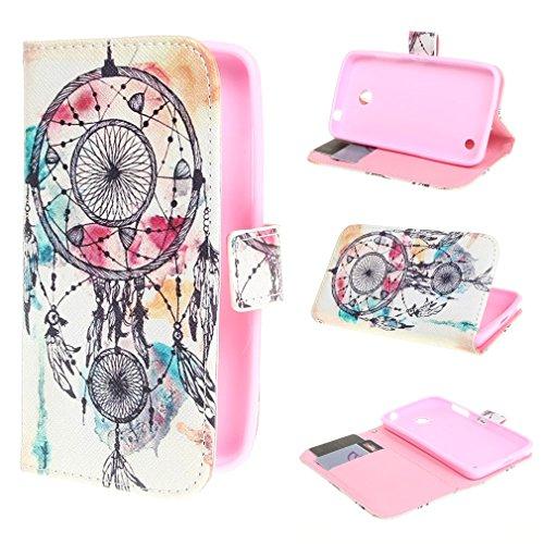 Leathlux Dream Catcher Design Magnetico Portafoglio PU Pelle Stand Custodia Protettiva Case Cover per Nokia Lumia 630 / Nokia Lumia 635 (Only fit Nero and Bianco 630 /635 cellphone)