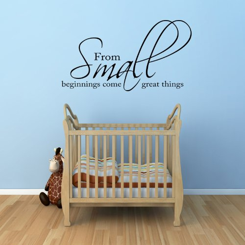 From Small Beginnings Come Great Things Wall Sticker Quote New Born Baby Nursery (Black) front-573927