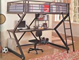 Loft Bed - Full Size Workstation Loft Bunk Bed in Matte Black - Coaster