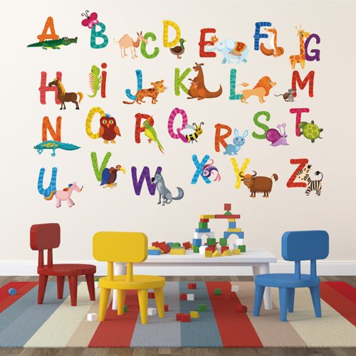 Pop Decors Repositionable Wall Sticker, 26 Alphabet Animals