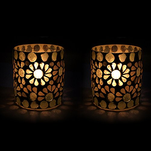 EarthenMetal Handcrafted White Crystal Decorated Tealight (Candle Light Holder) - Set Of 2