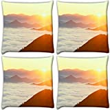 Snoogg Clouds On Hill Top Pack Of 4 Digitally Printed Cushion Cover Pillows 12 X 12 Inch