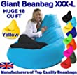 XXX-L GIANT YELLOW Highback Beanbag Water Resistant Beanbags for indoor or outdoor use Great as Gaming Chair or garden chair from Beautiful Beanbags Ltd