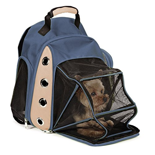 EXPAWLORER Mesh Multiple Deluxe Dog Carrier Travel Backpack Double Shoulders Straps Bag for Small Pet Puppy Cat Dark Grey