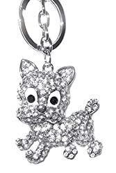 Costume Silver and Clear Diamante Chunky Dog Shaped Bag Charm or Keyring