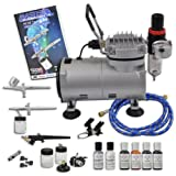 Master Airbrush Cake Decorating System. 3 Airbrushes, Air Compressor, 6' Hose, Airbrush Holder, 3 Quick Couplers, Red, Blue, Yellow & Green- 0.7 Oz. Americolor Food Colors. Now Includes (FREE) White & Silver Shimmer Colors & How to Airbrush Training Book to Get You Started.