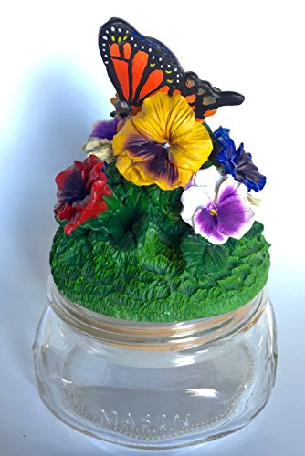 Monarch Butterfly in Pansy Garden Candle or Jar Topper Lid