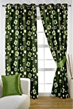 HOMEC Decorous Jacquard Curtain Set of 2 (Size - Door 46 X 84 inch/Color - Green)