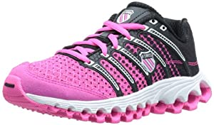 K-Swiss Women's Tube Run 100 Running Shoe,Neon Pink/Black Dot Fade,8.5 M US