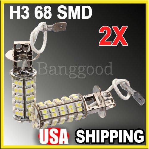 2X New Car H3 68 Smd Led White Auto Fog Head Light Headlight Lamp Bulb 12V Dc Us