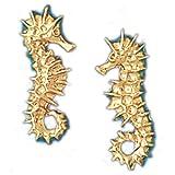 14K Yellow Gold Sea Horse Earrings