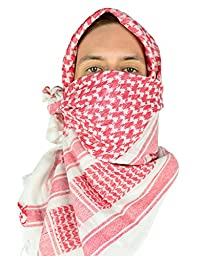 Mato & Hash Military Shemagh Tactical 100% Cotton Scarf Head Wrap - White/Red