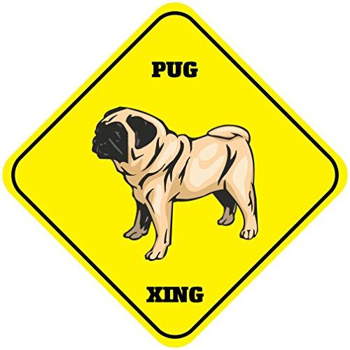 Pug Xing Crossing Funny Metal Aluminum Novelty Sign