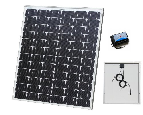 100W AKT Solar Panel Kit with 10A charge controller and solar cables - Complete kit for a 12V system e.g. in a Caravan, Boat or Outhouse