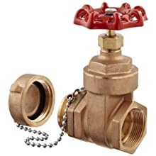 "Dixon WDGV150F Cast Brass Non-Rising Stem Wedge Disc Gate Valve, 1-1/2"" NPT Female x NST Male"