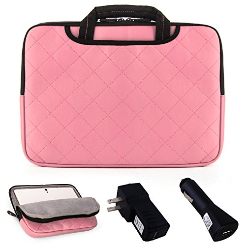 """Gummy Padded Sleeve Bag Case - Baby Pink For Toshiba Encore 2 10.1"""" Tablet & Excite + Car Usb Charger + Home Usb Charger front-203894"""