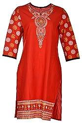 Tarang Mart Women's Cotton Straight Kurta (TM-K122, Red, L)