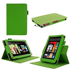 "rooCASE Amazon Kindle Fire 7 Case - (2011 Non-HD Previous Generation) Dual View Multi Angle Tablet 7-Inch 7"" Stand Cover - GREEN"