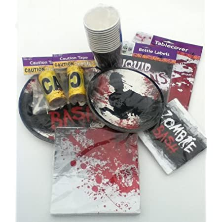 Our 71 piece Zombie Party Pack will make your Zombie-themed party 'Terrifyingly Simple'. Each kit include 8 each dinner and dessert plates, 8 cups, 16 each dinner and dessert napkins, 2 zombie caution tapes, 1 zombie tablecloth and 12 2-liter bottle ...