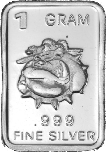 "1 Gram Silver Bar .999 Fine Solid Silver ""Bulldog"" Bar"