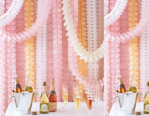 Hanging Garland Four-Leaf Clover Garland Tissue Paper Flower Garland Reusable Party Streamers for Party Decorations Wedding Decorations, 11.81 Feet/3.6M Each, Pack of 6