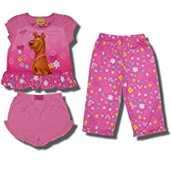 "Scooby-Doo ""Loveable Scooby"" 3 piece Pink Pajama Set for Toddler Girls"