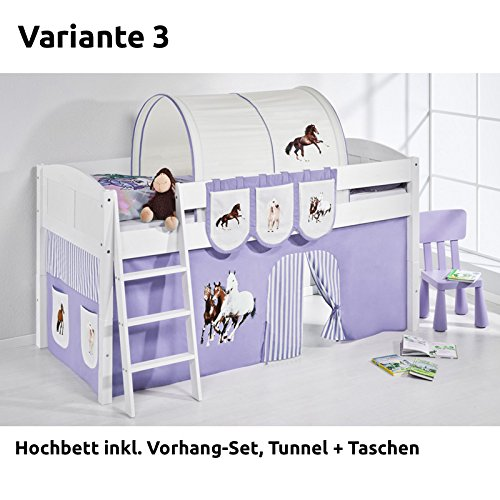 Hochbett Spielbett IDA Pferde Lila Beige, mit Vorhang, weiß, Variante 3