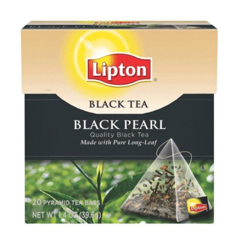 Lipton Black Tea, Black Pearl Pure Long Leaf, Premium Pyramid Tea Bags, 20-Count Boxes (Pack of 6)