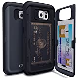 Galaxy S6 Case, TORU® [Shockproof] Samsung Galaxy S6 Credit Card Case [CX Pro] [Blue] Protective Hybrid Kickstand Case with Card Slot Wallet for Galaxy S6 - Metal Slate (21S6TCXP-MS)