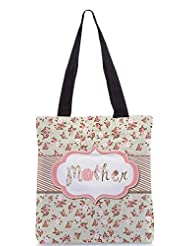Snoogg Hand Drawn Vector Floral Frame With A Word Mother Great Mothers Day Card Designer Poly Canvas Tote Bag