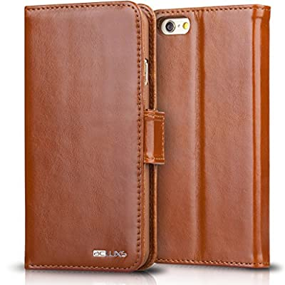 "iPhone 6 Plus Leather Case, ACLUXS Genuine Cow Leather Wallet Case for Apple Smartphone Phone 6 4.7"" 5.5"" Leather Cover Wearable Snugly Folio Stand Style 100% Handmade Ultra Slim"