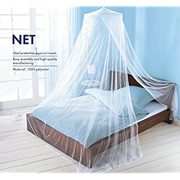 Yanglovele Round Hoop Bed Canopy Netting Mosquito Bedding Net Fit Crib, Twin, Full, Queen, King (White)