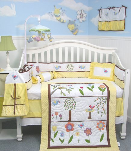 SoHo Summer Bird Singing Crib Nursery Bedding SET 10pcs ** Reversible Into 2 Designs ! **