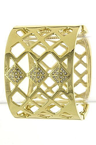 Karmas Canvas Crystal Lined Square Accent Bracelet (Clear/Gold) front-202011
