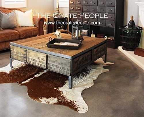 The 48 ZORIA Farms Coffee Table - Reclaimed Furniture using Vintage Wood Crates & Barn Wood